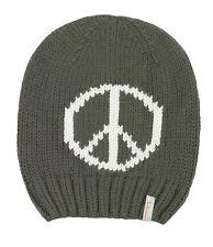 (P18) Grobstrick Mütze FREAKY HEADS Beanie Wintermütze Peace mit Logo Aufnäher