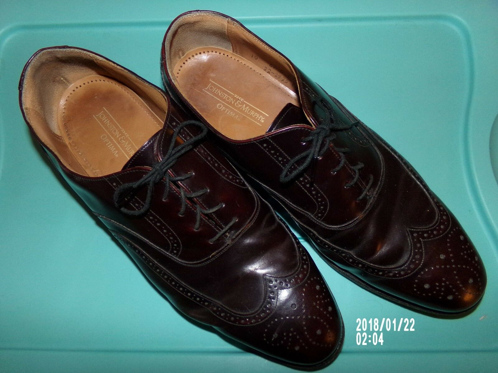 Johnston Murphy Oxford Wing tip men size 10 tie shoe Optima Made USA burgundy
