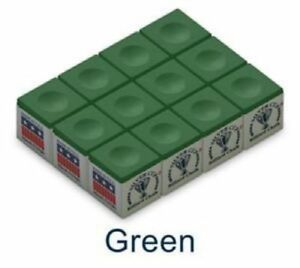 One-Dozen-GREEN-Silver-Cup-Pool-Cue-Chalk
