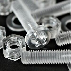 60-x-Acrilico-Bulloni-e-Dadi-M5-x-20mm-in-Plastica-Trasparente-Acrilico-Viti