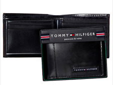 Geniune New Tommy Hilfiger Black Leather Mens Cambridge bifold wallet Authentic