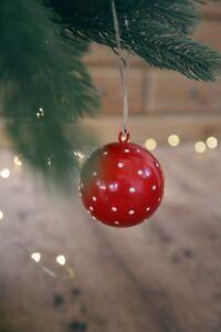 Große Rote Christbaumkugeln.Details Zu Christbaumkugel Holz Rot Weiße Punkte Weihnachtskugel 2 Größen Kugeln Landhaus