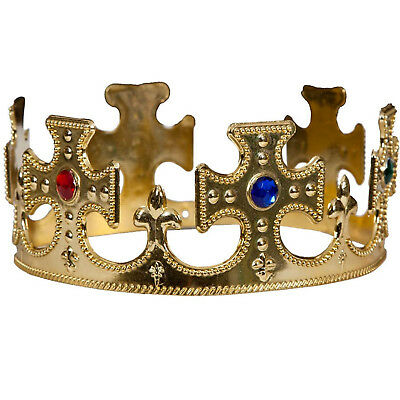 New Adults King /& Queen Royal Gold Nativity Majestic Crown Fancy Dress Accessory