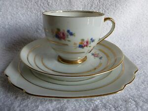 Vintage-retro-Victoria-china-Czechoslovakia-HU-cup-saucer-plate-tea-trio
