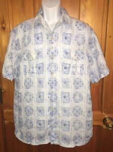 TOMMY-BAHAMA-Men-s-Shirt-Aloha-HAWAIIAN-Floral-LINEN-Blue-LARGE-L-EUC