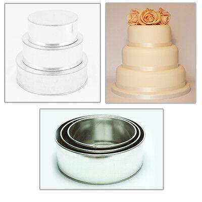 "3 TIER HEAVY DUTY ROUND WEDDING CAKE TINS  8"" 10"" 12"""