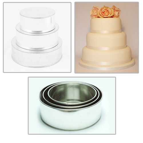 "3 TIER HEAVY DUTY ROUND WEDDING CAKE TINS  8/"" 10/"" 12/"""