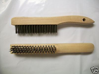 Bossweld 4 Row Stainless Steel Wire Brush Wood Handle 500081 Aluminium
