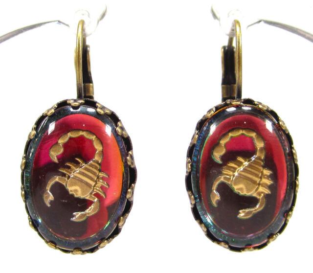 SoHo® Ohrhänger Ohrringe Sternzeichen Skorpion vintage bohemia Glas oval bronze