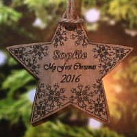 Personalised Christmas Tree Decoration Baby's first Christmas Wooden Star Bauble