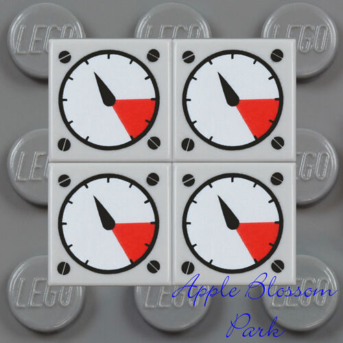 NEW Lot//4 Lego 1x1 Gray FLAT TILE Race Car Truck Engine Gauge Dial Speedometer