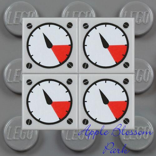 NEW Lot//4 Lego 1x1 Gray FLAT TILE Race Car Truck Engine Gauge Dial Speedometer