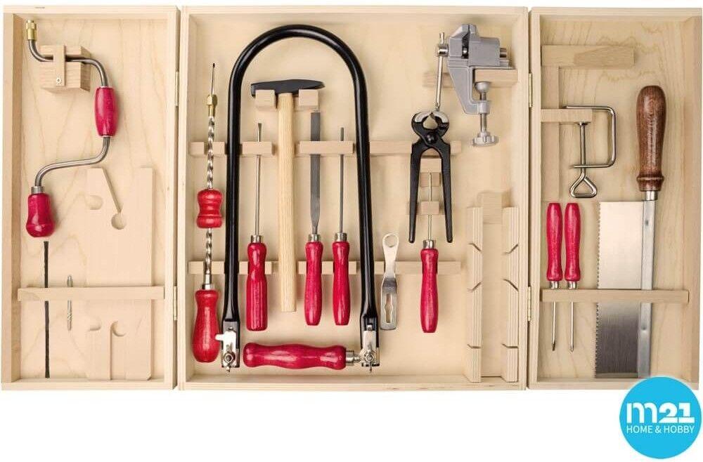 Großer Kinder Öko Werkzeugschrank inkl. Laubsäge – Bohrer + Stahlwerkzeugen