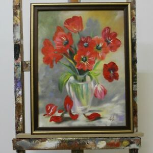 Painting-Flowers-Handmade-Oil-Painting-Picture-Oil-Frame-Pictures-G96311