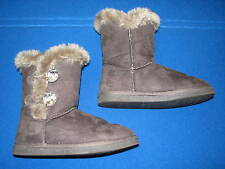 6 Just Fab Ladies Womens Grey Gray Fur Faux Suede Leather Flat Short Boots Ankle