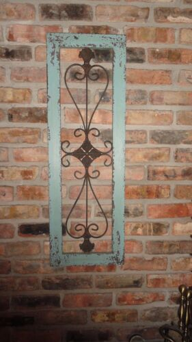 distressed metal Framed metal wall decor turquoise garden decor wrought iron