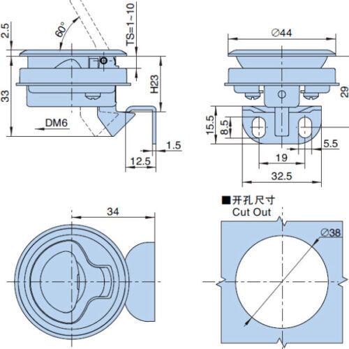 4Pieces Marine Boat Deck Hatch Flush Pull Latch Lock Cabin Hardware 1-10mm thick