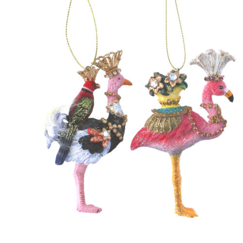 Gisela Graham Flamingo /& Ostrich Hanging Decorations Christmas Hangers