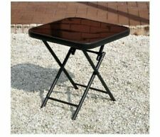 Small Folding Glass Table Coffee Side Picnic Indoor Outdoor Black End Furniture