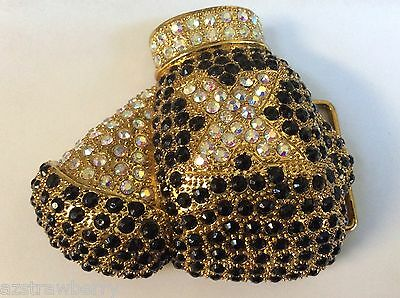 Gold tone metal rhinestones Boxing Gloves fancy belt buckle