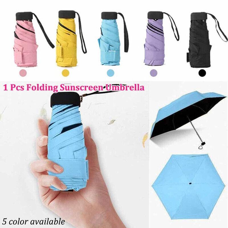 Mini Pocket Compact Fold Umbrella Sun Anti UV 5 Folding Rain Windproof Umbrella
