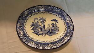 Watteau-Royal-Doulton-blue-amp-white-vintage-Art-Deco-antique-meat-plate-platter