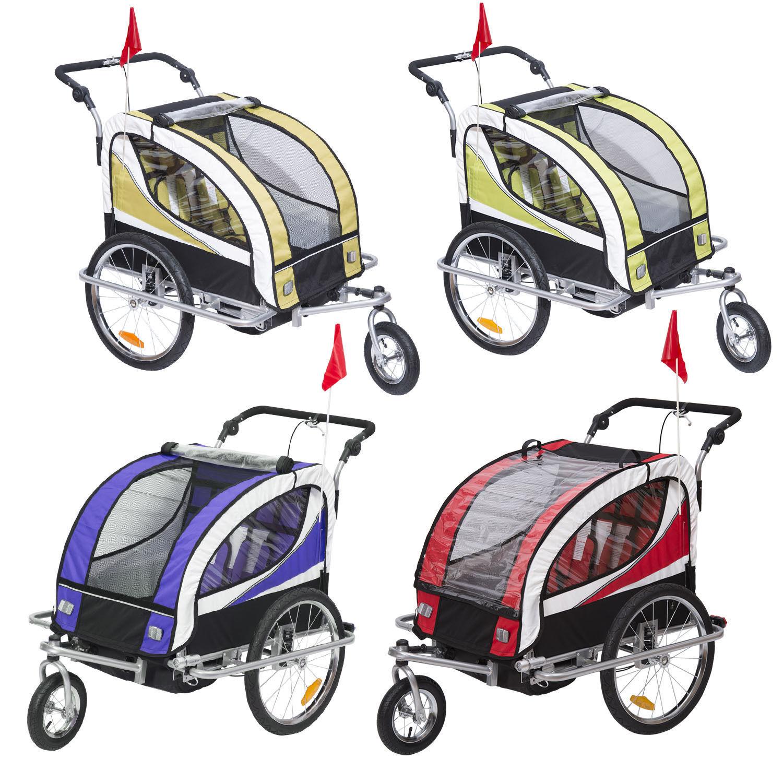 Kinderanhänger 2 in 1 Fahrradanhänger Anhänger Jogger 360° Drehbar für 2 Kinder