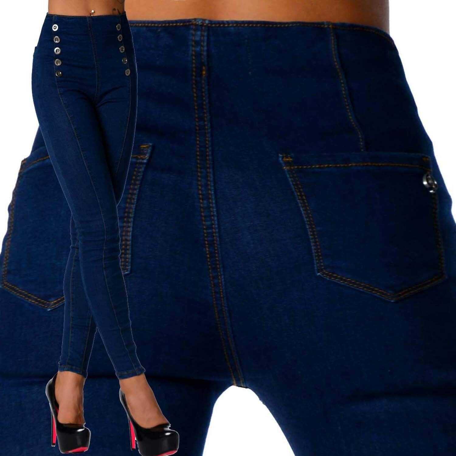 Sexy New Women's Stretchy Navy Jeans Trousers High Waisted Skinny C 131