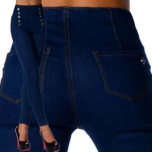 Sexy-New-Women-039-s-Stretchy-Navy-Jeans-Trousers-High-Waisted-Skinny-C-131