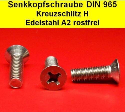 Senkkopfschrauben Kreuzschlitz H Edelstahl A2 DIN 965 M2 M2,5 M3 M4 M5 M6