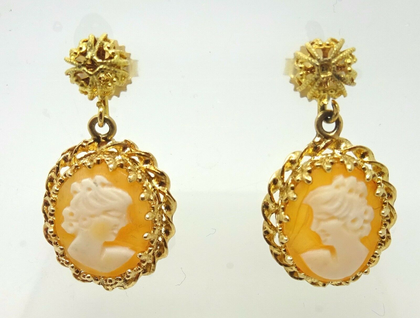 14k gold Dangle Earrings with Round Genuine Natural Cameos ( J3506)