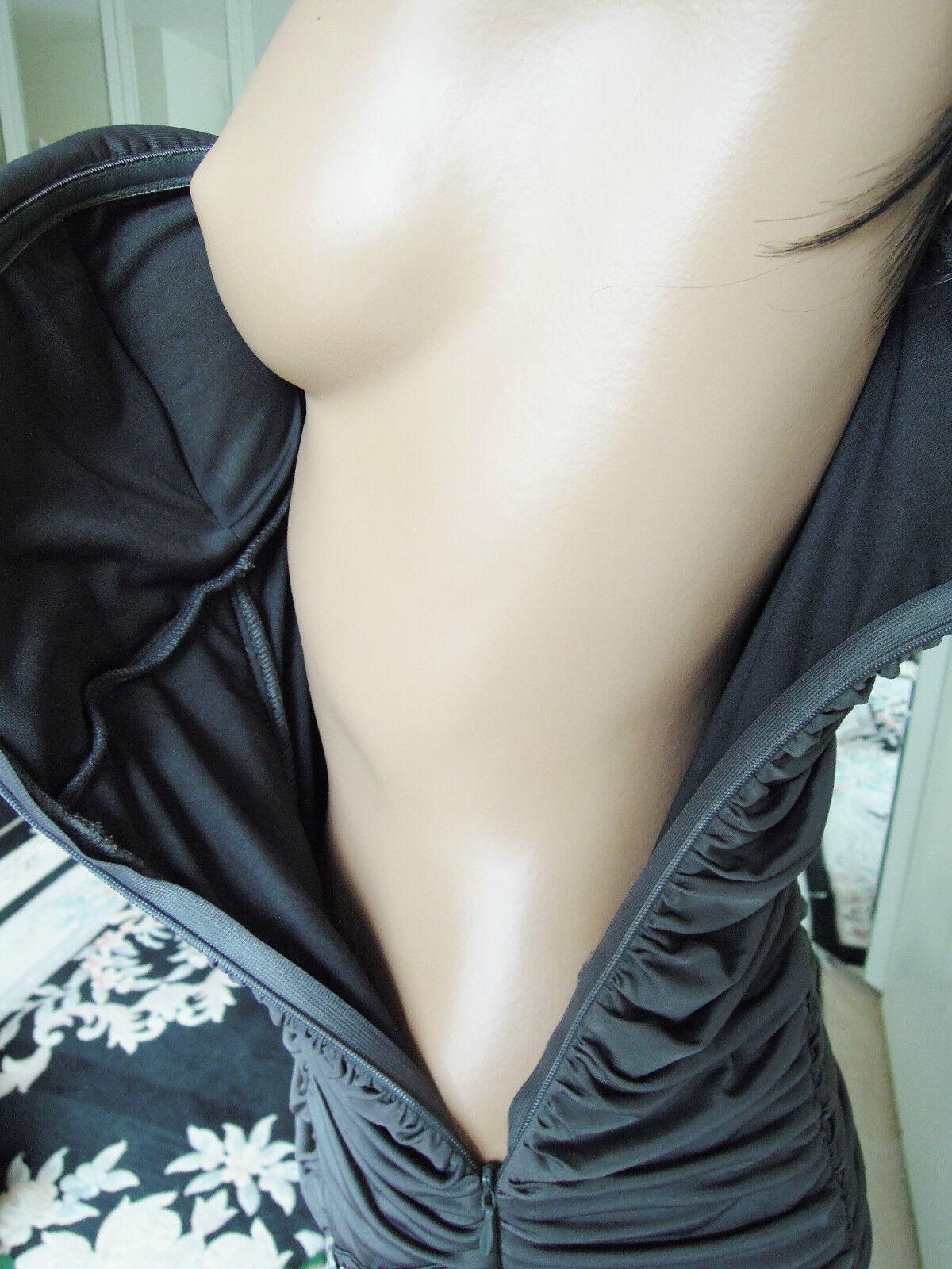 Abito da sera tg tg tg 38 tg. 40 GRIGIO gioielli pietre cristalli strass sexy arricciato 08b64a