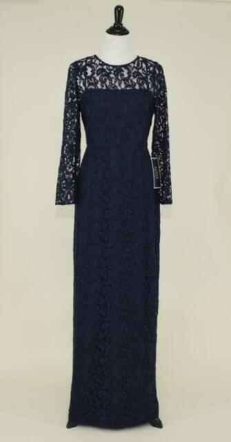J.CREW Selina Gown in Leavers Lace 4 Navy Long Evening Dress C5465 ...