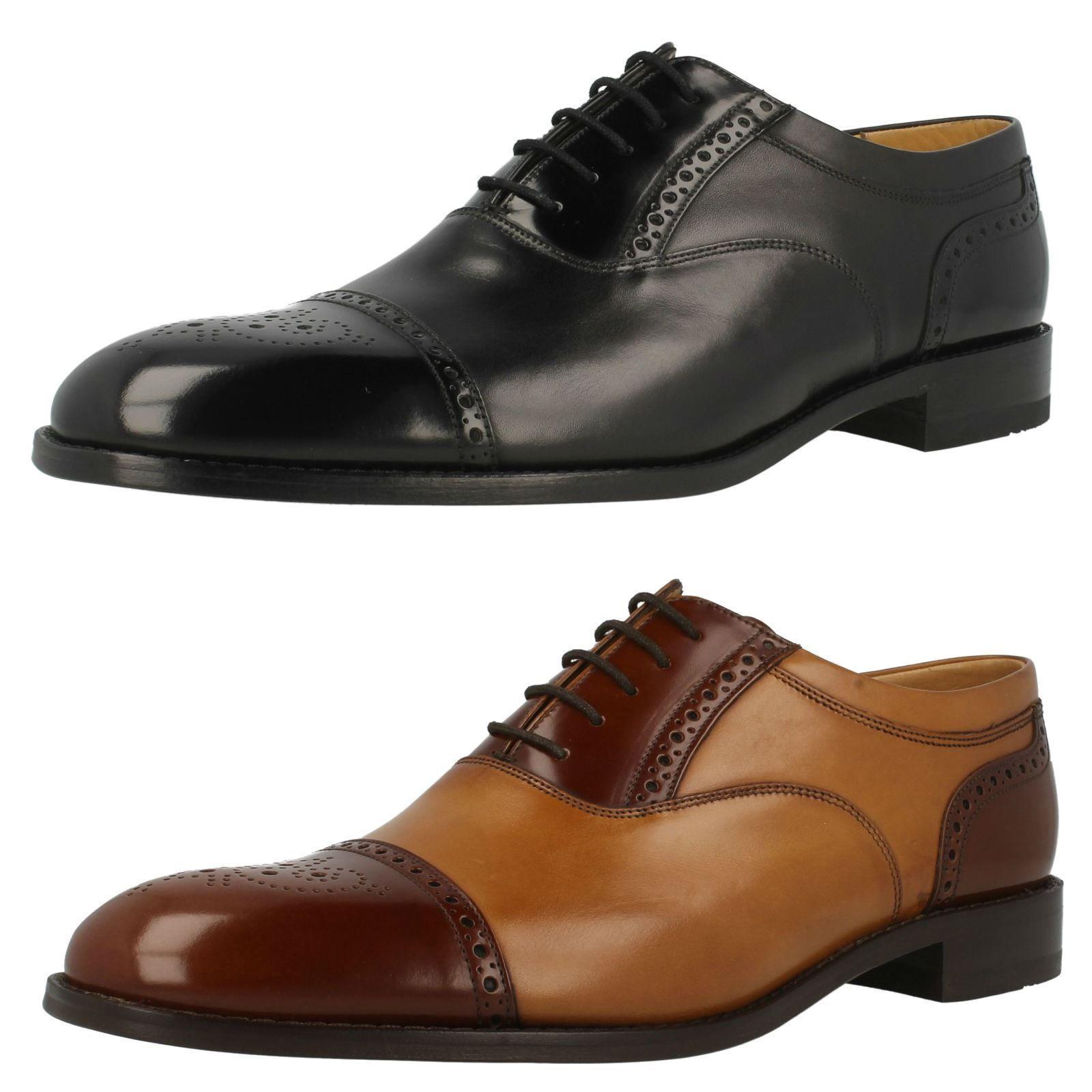 Negro de Hombre   Tostado con Cordones Cuero Loake Zapatos Woodstock Tallas 7-11