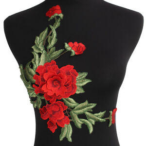 Red-Green-Floral-Flower-3D-Embroidery-Sew-On-Lace-Patches-Applique-Motifs