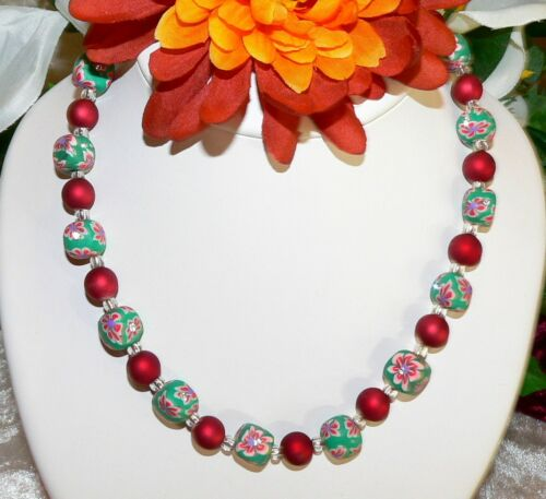 2er schmuckset collar arete fimoperle multicolor verde pedrería rojo 480c