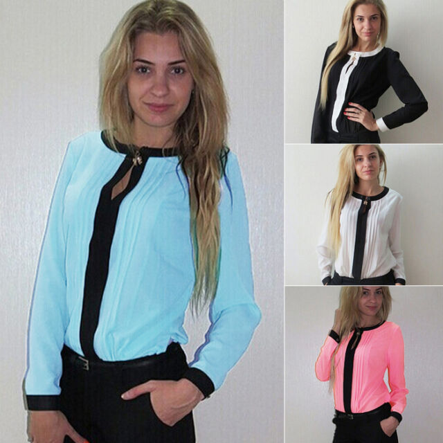 New Fashion Women's Loose Long Sleeve Chiffon Casual Blouse Shirt Tops