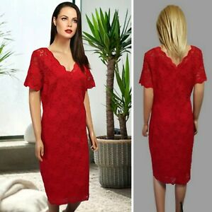 GEORGE DRESS SIZE 16 RED PENCIL V-NECK SHORT SLEEVE LACE FULL LINING MIDI #26