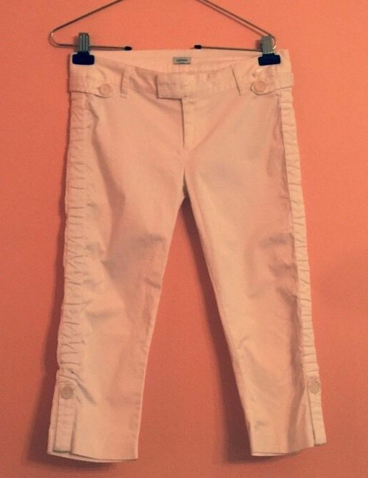 EUC TUFI DUEK Cotton Blend White Capri Pants SZ US 6 Made in Brazil