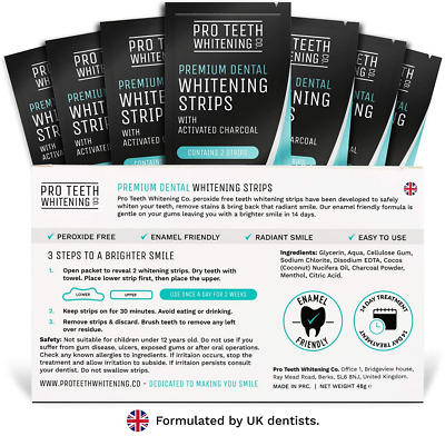 Premium Dental Teeth Whitening Strips With Activated Charcoal 5060597420020  | eBay