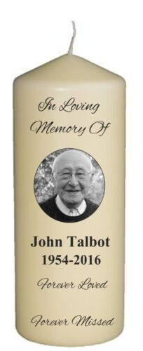 PERSONALISED MEMORIAL CANDLE with photo and or with a message Cello Wrapped