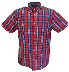 Trojan-Records-Mens-Retro-Red-Check-100-Cotton-Short-Sleeved-Shirts