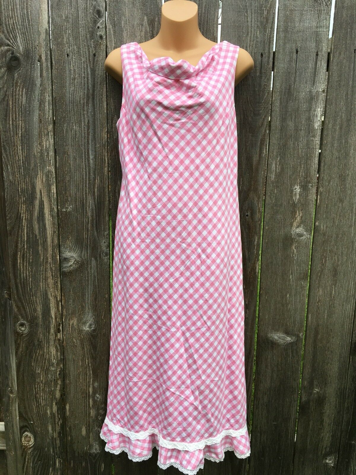 DIMENSION Women's S   42 Linen Blend Pink White Gingham Sleeveless Dress FRANCE