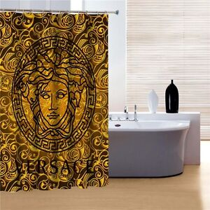 gold and black colored shower curtain bathroom decor ebay
