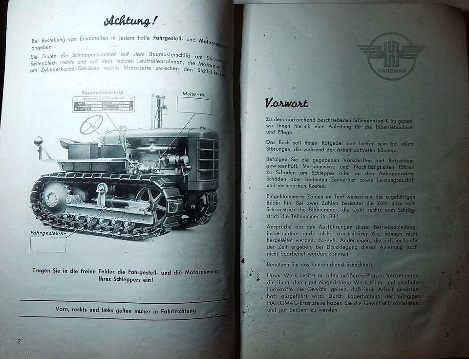 Bulldozer Betjeningsvejledning, Hanomag Typ K55