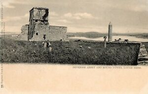 DEVENISH-ABBEY-amp-ROUND-TOWER-LOUGH-ERNE-FERMANAGH-IRELAND-TUCK-POSTCARD-No-2906