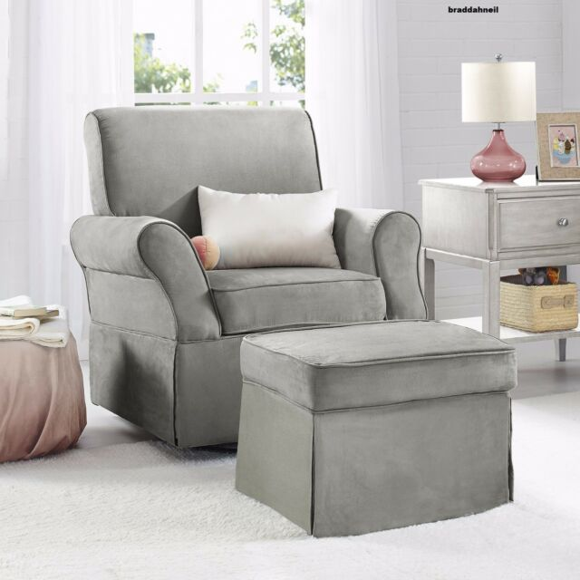 Glider Swivel Upholstered Chair Ottoman Infant Nursery Furniture Baby Beige Gray