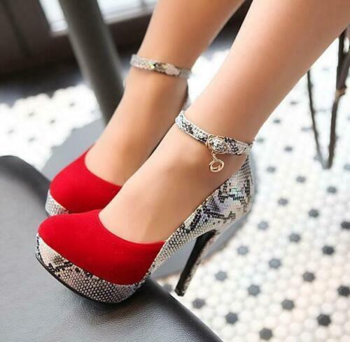 Womens Round Toe Ankle Strap Platform Stilettos High Heels Mary Jane Shoes Pumps