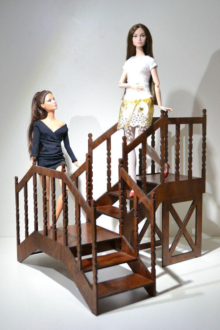 Stair for Dolls 12  1 6 for Barbie,FR wood handmade furniture OOAK