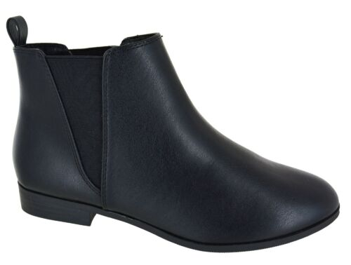 WOMENS LADIES FLAT LOW HEEL CHELSEA PIXIE RIDING DEALER PULL ON SHOES BOOTS SIZE